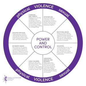 The Power and Control Wheel lists the warning signs of an unhealthy or abusive relationship